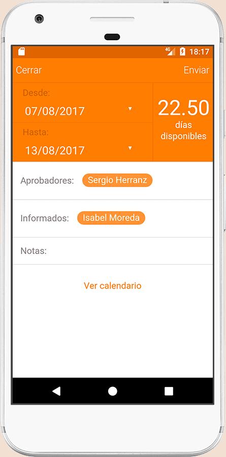 control de vacaciones desde la app