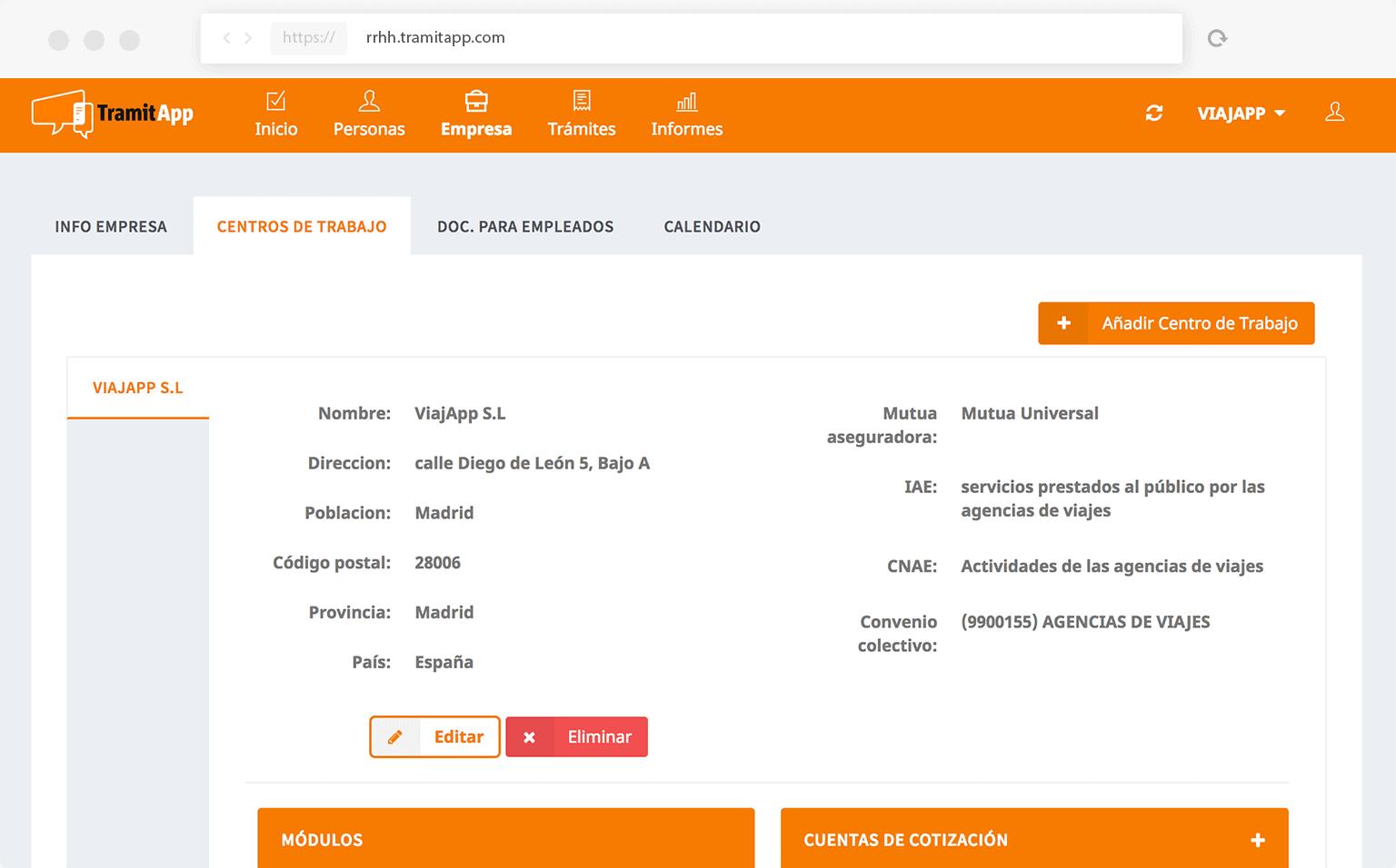 TramitApp Control Horario te permite la gestión multiempresa personalizada