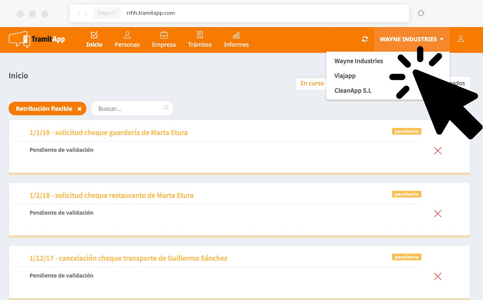 TramitApp Control Horario soporta la gestión multiempresa en los recursos humanos