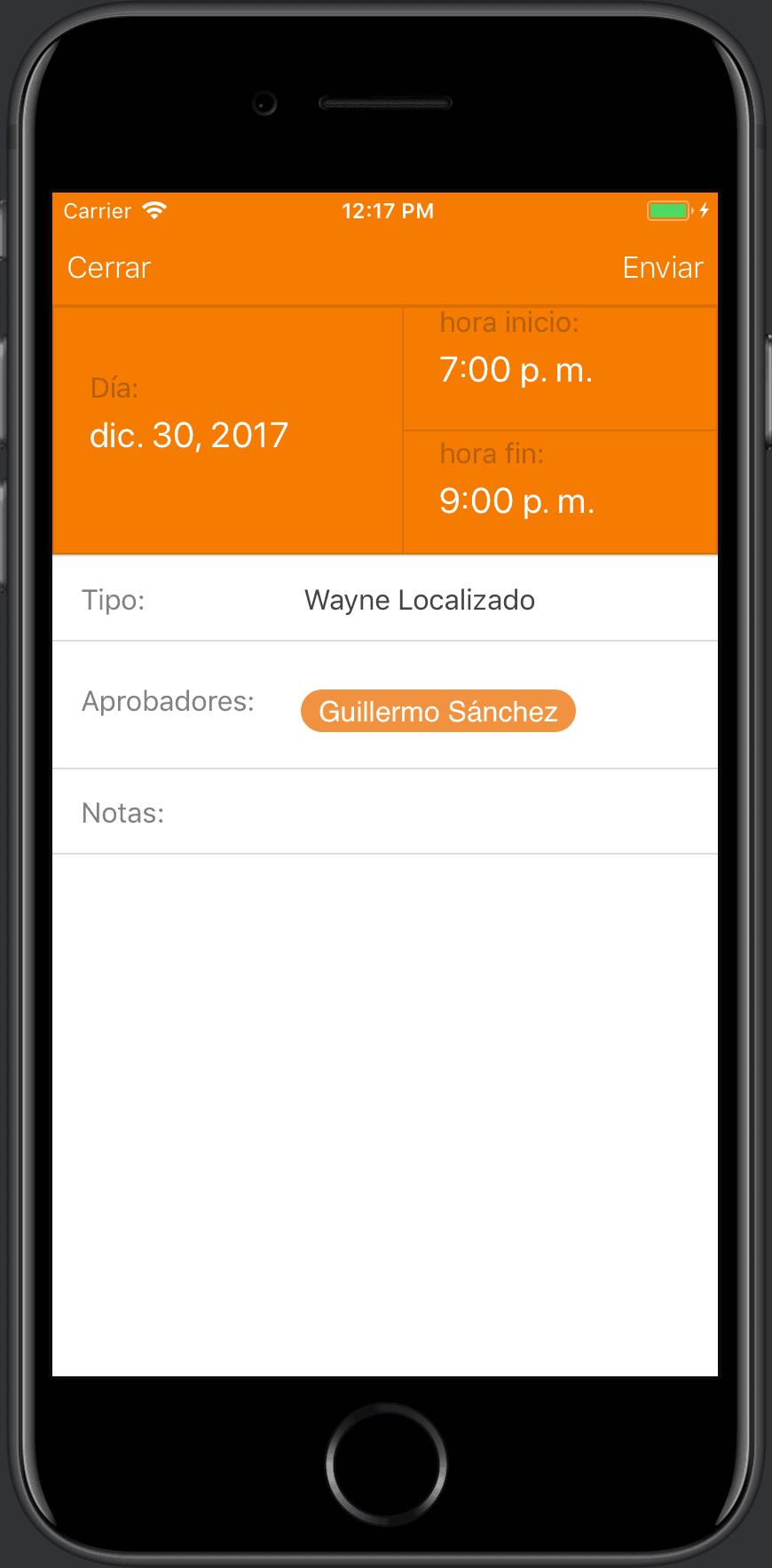 horas extra desde un teléfono móvil iPhone