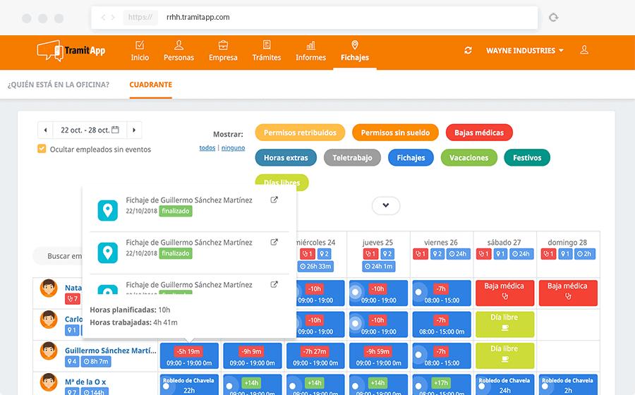 TramitApp Control Horario es la app de control horario que permite ver el cuadrante automático de las horas de tus empleados.