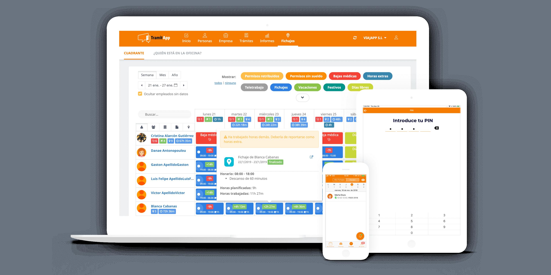 App de Control Horario a través de Web, móvil y Tablet.