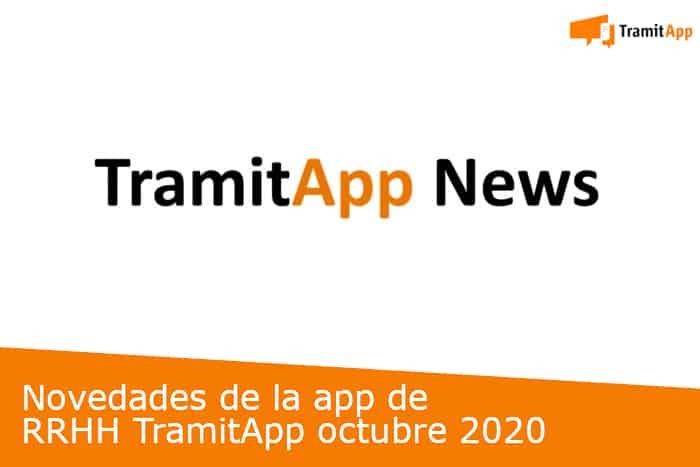 Novedades de la app de RRHH TramitApp octubre 2020