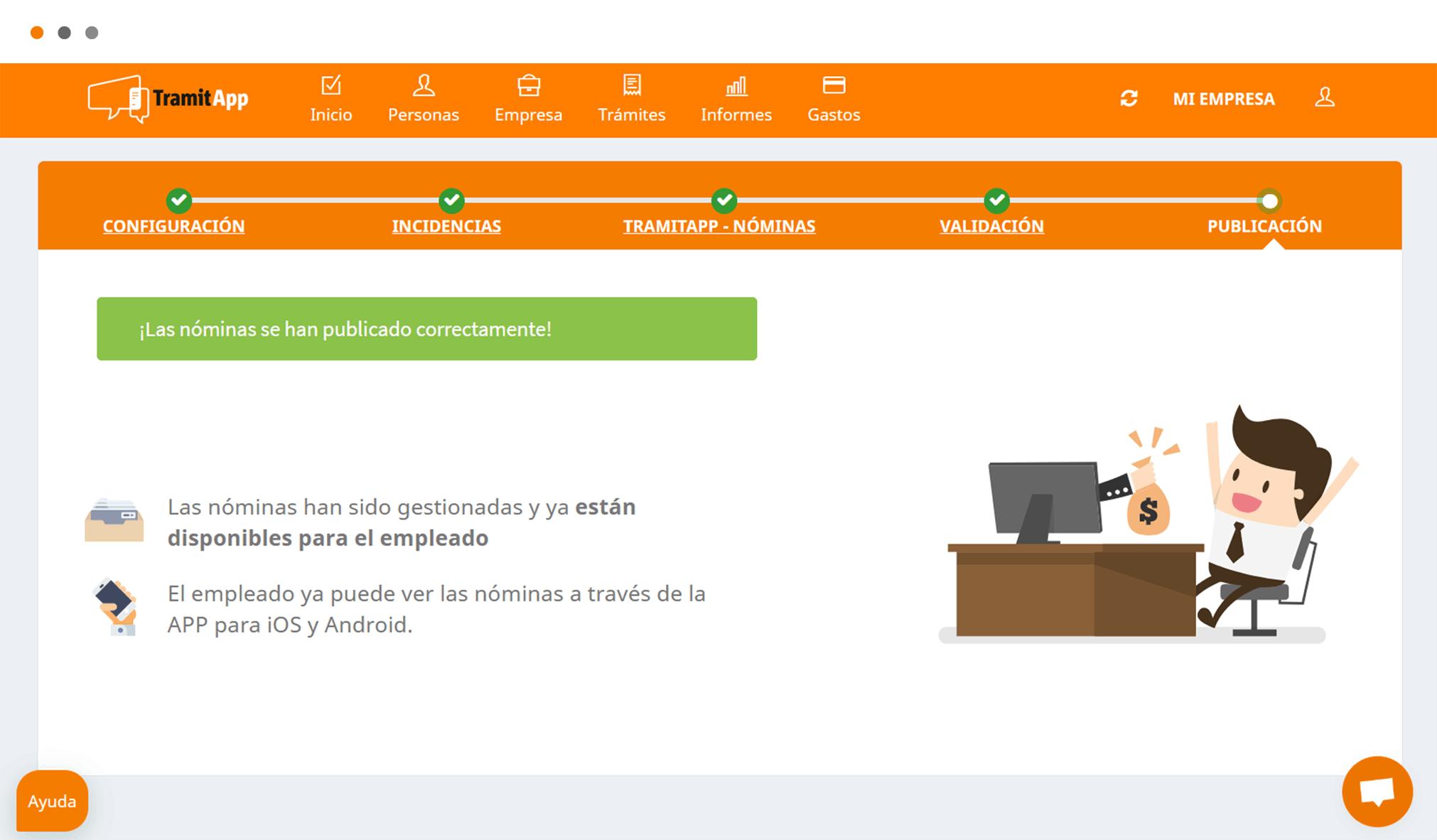 Distribuye las nóminas de tus empleados en sólo unos clics